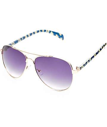 Grand Geo Gold & Blue Aviator Sunglasses