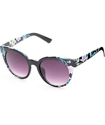 Gravity Black Floral Cateye Sunglasses