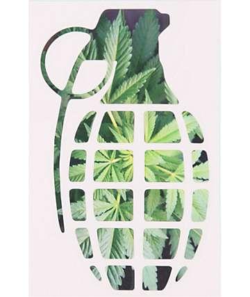 Grenade 8.5 Green Leaf Die Cut Sticker