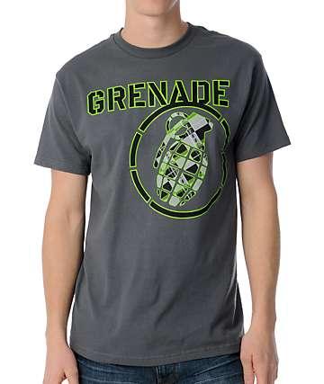 Grenade Bang Plaid Charcoal T-Shirt