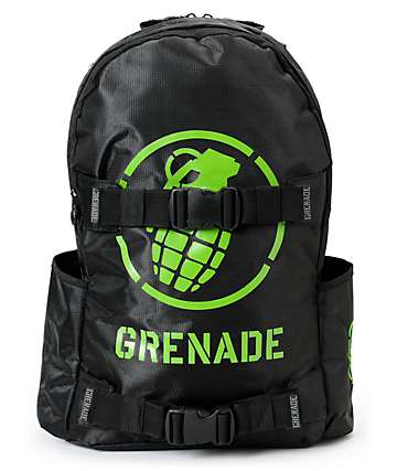 Grenade Black & Green Logo Backpack