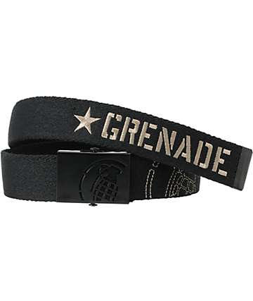 Grenade Black & Grey Web Belt
