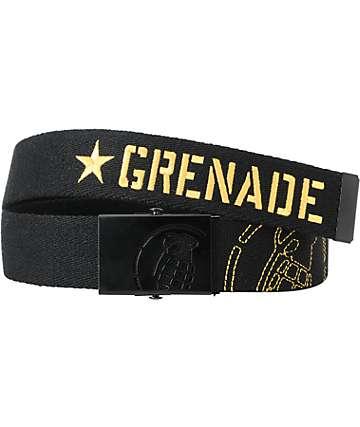 Grenade Black & Yellow Web Belt