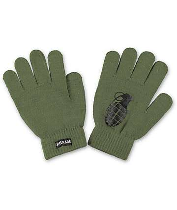 Grenade Bomb Army Green Knit Gloves