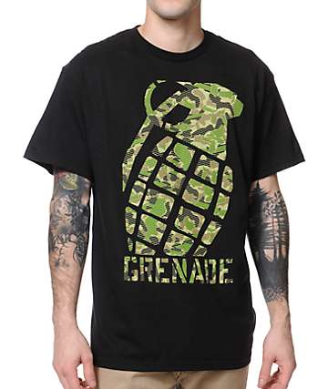 Grenade Camo Tilt Black T-Shirt