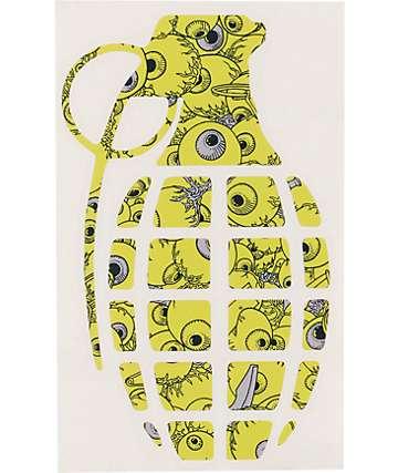 Grenade Eyeballs Lime Green Die Cut Sticker