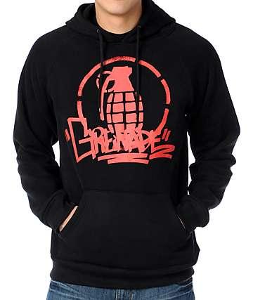 Grenade Graffiti Stencil Black Pullover Hoodie