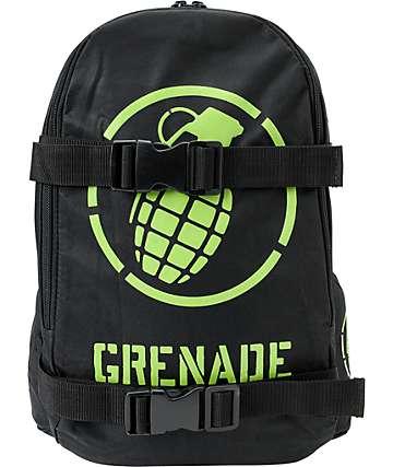 Grenade Logo Black & Green Skate Backpack