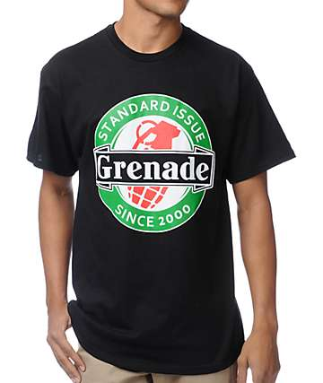 Grenade Logo Crest Black T-Shirt