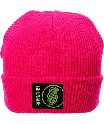Grenade Max Fold Hot Pink Beanie