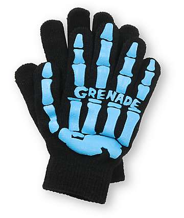 Grenade Skull Black & Blue Gloves