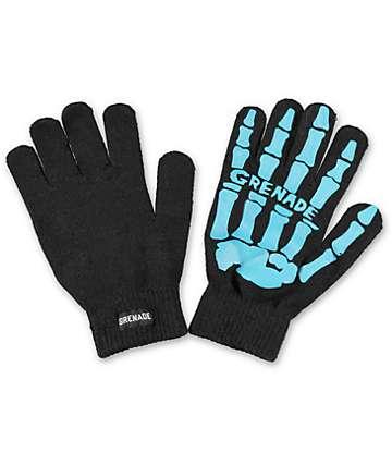 Grenade Skull Black & Blue Knit Gloves