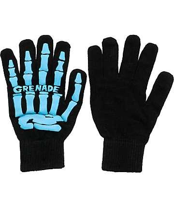 Grenade Skull Black & Turquoise Gloves