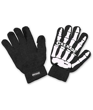 Grenade Skull Black & White Knit Gloves