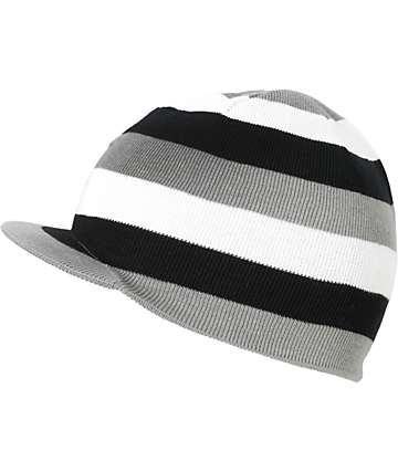 Grenade Stripe Grey, Black & White Reversible Visor Beanie