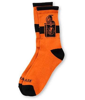 Grenade Tucked Orange Crew Socks
