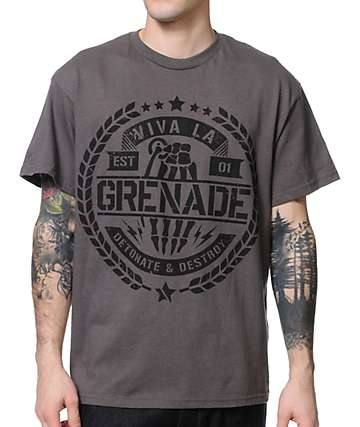 Grenade Viva La Crest Charcoal T-Shirt