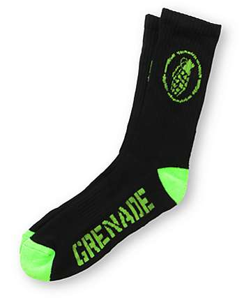 Grenade Wrecker Black Crew Socks