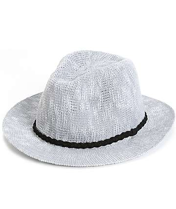 Grey Wide Brim Panama Hat