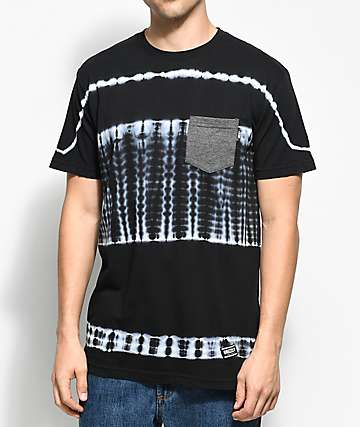 Grizzly Baltic camiseta negra con bolsillo y efecto tie dye