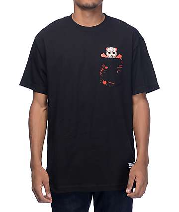 Grizzly Blood Splatter Black Pocket T-Shirt