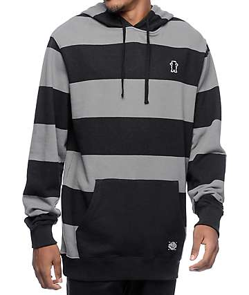 Grizzly Captivity Black & Grey Striped Hoodie