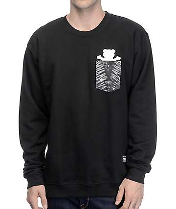 Grizzly Cascade Tie-Dye Pocket Crew Neck Sweatshirt