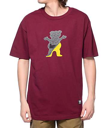 Grizzly Cut Out Bear Maroon T-Shirt