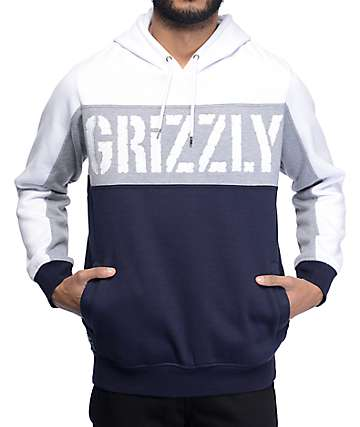 Grizzly Long Range White, Grey, & Navy Hoodie