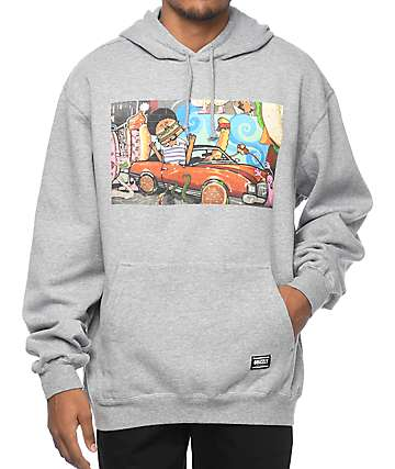 Grizzly Mac Society King sudadera gris con capucha
