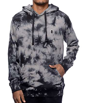 Grizzly Mid-Plains Black & Grey Tie Dye Hoodie
