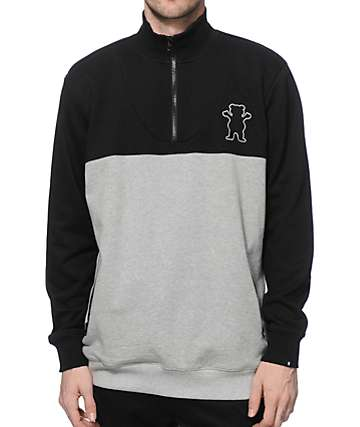 Grizzly Quarter Zip Crew Neck Sweatshirt