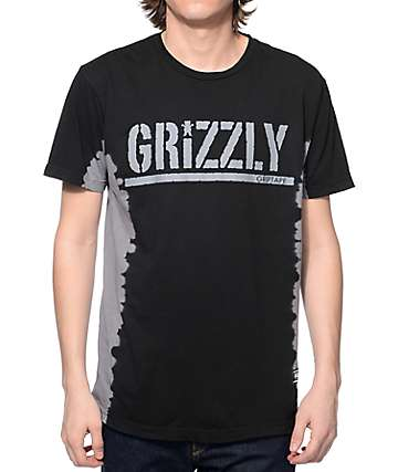 Grizzly T-Bone Tie Dye Stamp Black T-Shirt