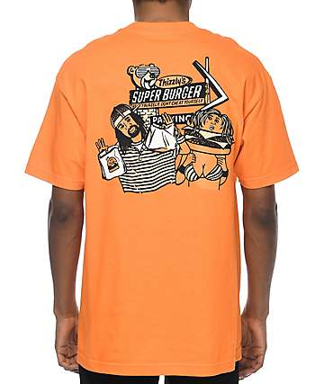 Grizzly Thizzly Burger camiseta naranja