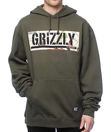 Grizzly Trail Map Box Logo Mountain sudadera verde con capucha