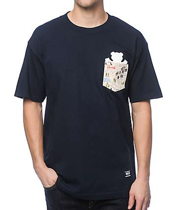 Grizzly Trail Map Navy Pocket T-Shirt