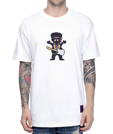Grizzly X Hendrix Jimi Bear White T-Shirt