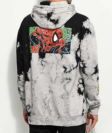 Grizzly X Marvels Spider-Man Black Tie Dye Hoodie