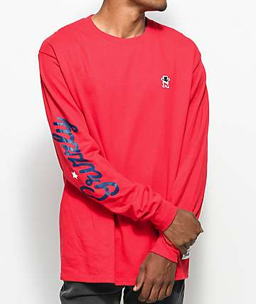 Grizzly x Champion Behind The Arc Red Long Sleeve T-Shirt