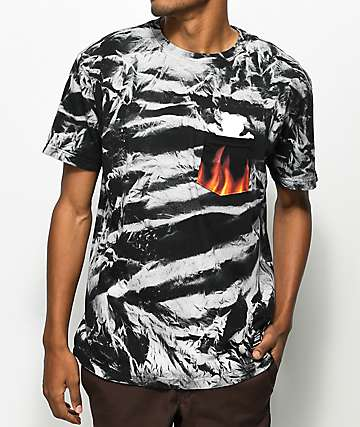 Grizzly x Marvel Ghost Rider camiseta con bolsillo con efecto tie dye