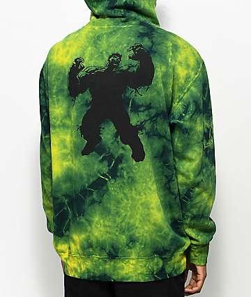 Grizzly x Marvel Hulk Electric sudadera con efecto tie dye y capucha