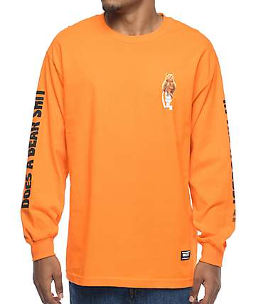 Grizzly x Skate Mental Upper Decker camiseta de manga larga en color naranja
