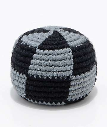 Guatemalart Checkerboard Black & Charcoal Hacky Sack