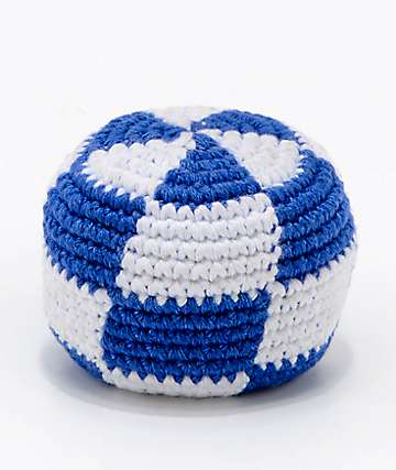 Guatemalart Checkerboard Blue & White Hacky Sack