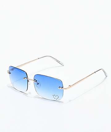 Gwen Blue Gem Rectangle Glasses