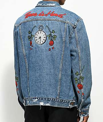 HSTRY Roses Light Blue Denim Jacket