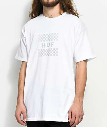 HUF  Blackout Check Box White T-Shirt