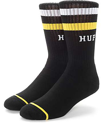 HUF 2 Stripe Black Crew Socks