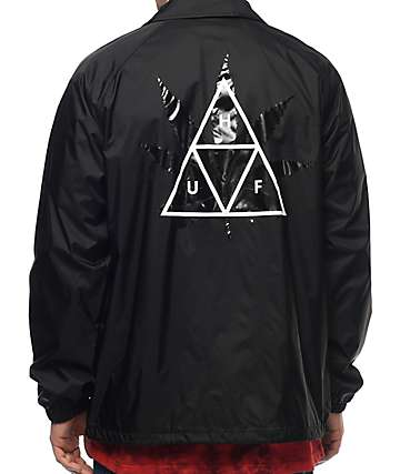 HUF 420 Plantlife Black Coaches Jacket