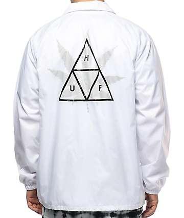 HUF 420 Plantlife chaqueta entrenador en blanco